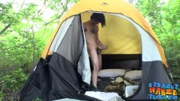 Horny long hair twink Devin Reynolds jacking cock outdoors