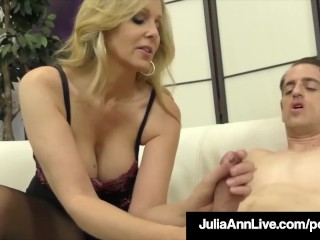 Hotel night porn stunning blonde milf julia ann strokes slave cock with feet! juliaannl