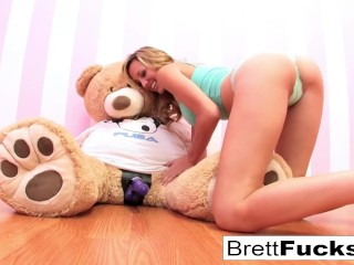 Preview 1 of Brett Rossi plays with a strap-on dildo