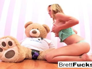 Preview 2 of Brett Rossi plays with a strap-on dildo