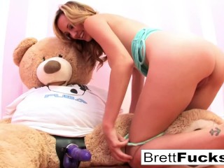 Preview 5 of Brett Rossi plays with a strap-on dildo