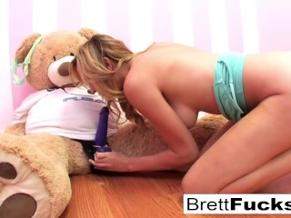 Preview 6 of Brett Rossi plays with a strap-on dildo