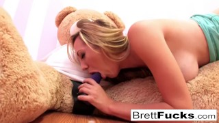 Preview 4 of Brett Rossi plays with a strap-on dildo