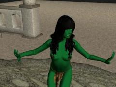 Dancing Green Woman Star trek Parody