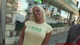Busty blonde amateur Whitney takes big black cock poolside