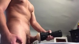 Solo: Ripped 18 Year Old Uses Fleshlight Part 2