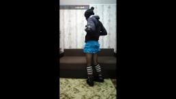 Encased in blue skirt fetish clothing slipper socks
