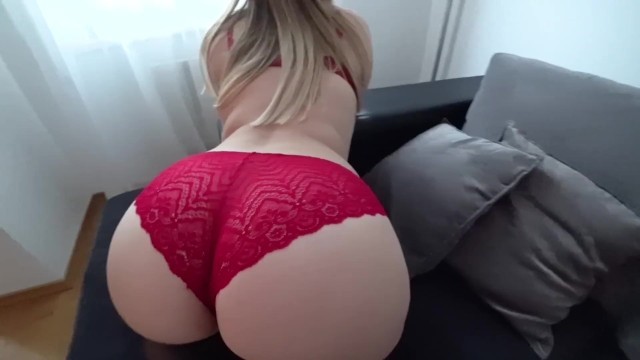 Sexy white panties Sex in stockings and through red panties