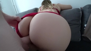 Panties red and stockings in through sex of twerk