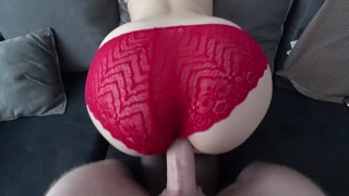 Sex in stockings and through red panties 3some pussy