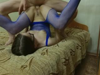 Fuck in Blue Fishnet Bodystocking + POV Cumshot