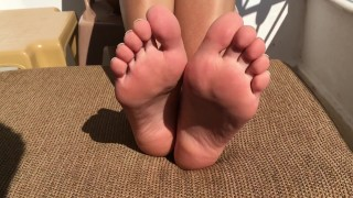 Feet Showing On A Public Balcony. Sexiest Feet, Soles & Toes. Solo.