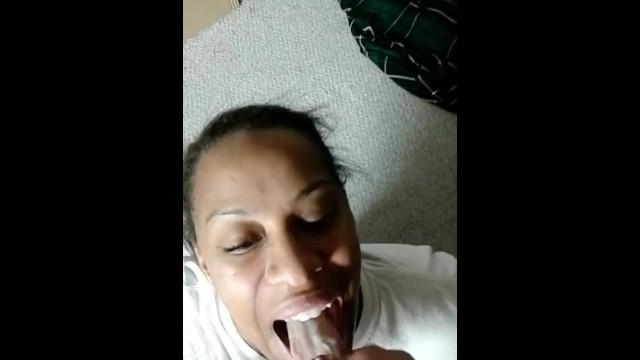 Loves the taste of cum Obedient ebony girl loves the taste of cum