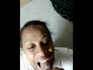 Obedient ebony girl loves the taste of cum
