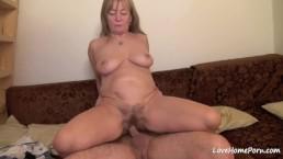 Hairy slut with big tits loves having sex
