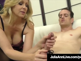 Awesome Blonde Milf Julia Ann Caresses Slave Cock With Her Feet!