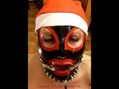 : Jingle bells New Year's Eve latex Mrs. Claus ring gag dripping deep...