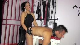 Virgin bitch strap-on training