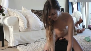 Adorable Teenage Girl Rides Sybian For First Time Passionate pussy