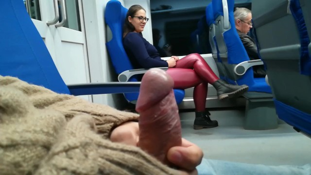 Slut masturbates in train - Stranger jerked and suck me in the train