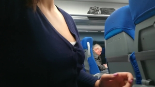 Me stranger the suck and jerked in train of public