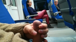 Stranger Jerked and suck me in the train Cowgirl riding