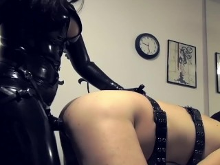 Micro bikini girls video hard fucking her slave with a big black strap-on kink ass fuck mistres