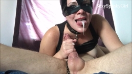 Catwoman Captures You! Sloppy Deepthroat Blow Job To Get Cum in Mouth