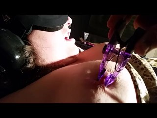 MILF restrained on bed,probed, clamped, & pleasured to huge, violent orgasm