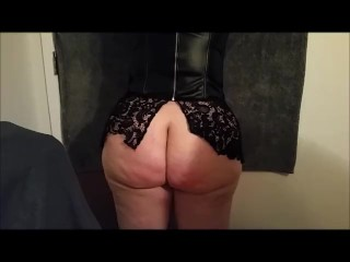 MILF Wife tied, spanking session with paddles, asshole fingered to orgasm