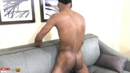 Twink strokes his big uncut dick for the first time on camera