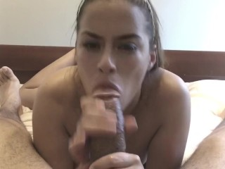 Latina babe gives bbc sensual sloppy blowjob