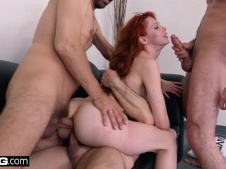 Red head getting ass fucked hard
