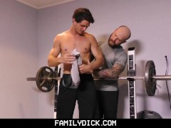 FamilyDick-Older tattooed muscle daddy coaches virgin stepson on thick cock