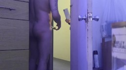 Answering door Naked for former roommate to give him his mail