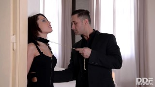 Preview 1 of Submissive Nikita Bellucci Deepthroat and epic Double Penetration