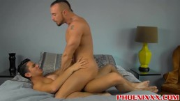 Handsome latino Lance Luciano pounds hot hunk Jessie Colter