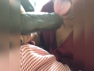 Hot MILF sucking black dick