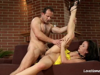 Babe in yellow is happily riding his pecker