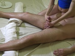 Sexy massage for him & orgasm control with final cumshot on my leg 4k