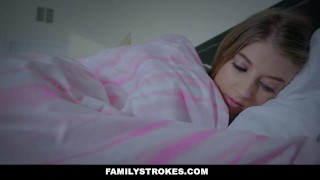 FamilyStrokes - Scared Stepdaughter Gets Fucked While Wife Sleeps  alyce anderson step daughter teen cumshot hardcore brunette cowgirl stepdad familystrokes petite shaved bigcock doggystyle step daddy step father