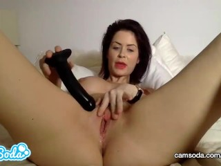 Emily Addison big tits redhead fucking huge black dildo.