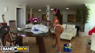 BANGBROS Busty Latina Maid Stacy Jay Cleans Chris Stroke's Pipes