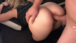 Blonde Teen Takes Huge Cock IN HER ASS HARD ANAL ORGASM