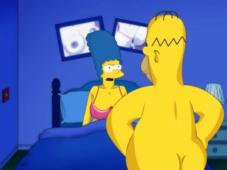 Marge big tits and Homer Simpson big dick. Cartoon video