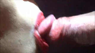 Horny cumshot blowjob from girl takes cum close
