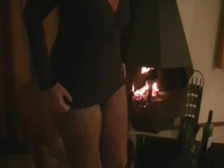 Horny by the fireplace