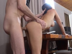 Horny big stud fucked deep and hard with creampie his little tight girl!