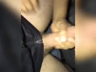 Playing with straight friend huge cock