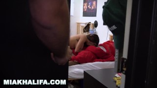 MIA KHALIFA - Black Football Player Gets His Dick Sucked While Friend Watch Pov blonde